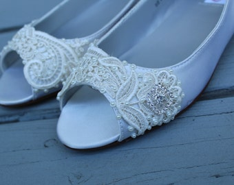 French Pleat Open Toe Ballet Flats Wedding Shoes