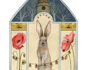 A Poppy Home // 8x10 Art Print // Woodland Illustration