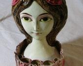 Vintage Big Eye Girl Vanity Doll 1960s Mod Makeup Holder Paper Mache Woman Bust
