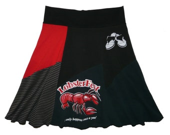 Lobster Skirt Women's Large XL Upcycled Skirt Hippie Skirt Size 12 14 recycled t-shirt clothing twinkle skirts from Twinklewear