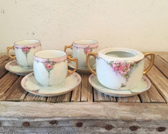 Vintage Set of Shabby French Teacups A K France