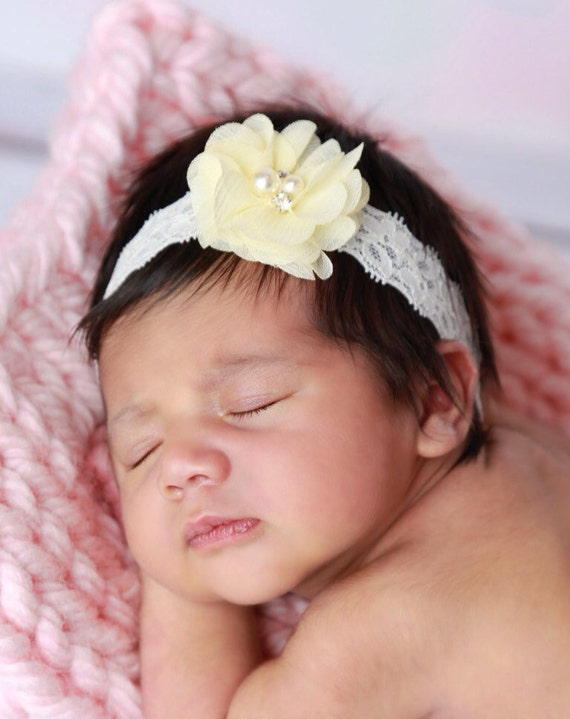 Pretty 2 inch yellow petal flower on 1 inch elastic lace, just perfect for a newborn, photo shoots or everyday, Lil Miss Sweet Pea