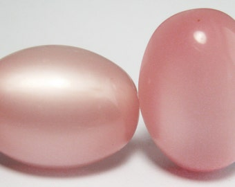 Moonglow Lucite - Vintage Earrings - Pink Chiffon - Screwbacks - Mod - Kitsch