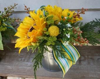 Sunflower Centerpiece - Faux Floral - Arrangment - Galvanaized Container - Summer