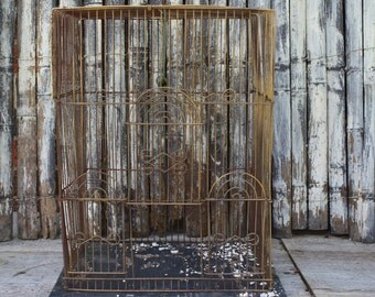 Vintage Birdcage - Metal - Wood - Rusty - Chippy Paint - Shabby Chic