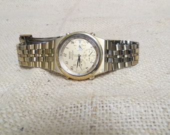Sale Vintage Seiko Chronograph Watch Second Hand Timer Date Day Tachymeter Gold Tone Runs New Battery