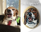 Custom Pet Necklace, Portrait Pendant, Hand Painted Animal Art, Dog Jewelry, Cat Memorial Painting, Gift For Her