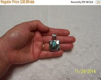 CLEARANCE SALE Vintage Abalone Square pendant. Sterling Sivler.