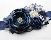 "Navy Blue Ivory Burlap Wedding Ribbon Sash ""Michelle""/ Handmade Accessory"