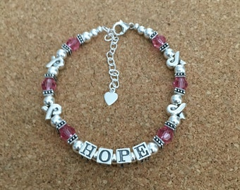 HOPE Bracelet - Breast Cancer Awareness -  Swarovski Crystal - Pink - Ribbon Bead - Inspirational - Any Size - Made in USA