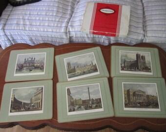 Boxed set of Six English Cottages Coasters Pimpernel. Cork Back Drinks Coasters. English Cottage Scenes.