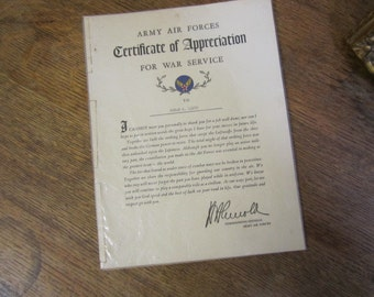 Army Air Forces Certificate of Appreciation for War Service.