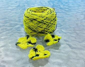 LIMITED AMOUNT - Crochet Cotton - Size 10 - Hand Dyed - Bumble Bee - Small Project Size - HDT - 10, 25, 50, 75 or 100 Yards