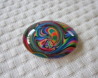 Focal designer cabochon-oval cabochon-beading and jewelry glass