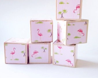 FLAMINGO NURSERY DECOR.  Pink Baby Shower Decoration. Wood Baby Blocks.  Under 20 children's gift.  New baby.