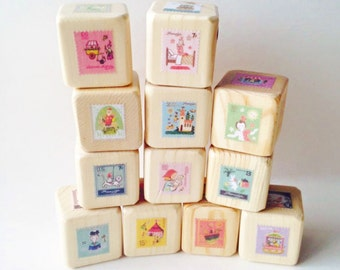 French Fairytale blocks.  children's toy. room decor.  adventure. Baby Blocks. France. Wood blocks. Unique Baby gift. nursery decor.