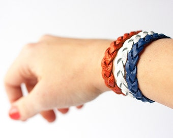 Braided Leather Bracelet Trio / Team Spirit / Denver