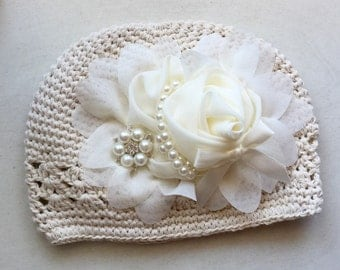 Toddler -Infants  cream   crochet hat  with cream/ ivory pearl  rhinestone  chiffon flower/Baby Girl Hat.
