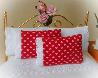Valentine Miniature Pillows, Set of 2 Bed Pillows with embroidered trim detail - 1:12 scale