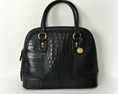 Vintage Brahmin Tote Crocodile Handbag Black Croco Large Leather Tote Purse