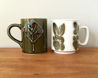 Mid Century Retro Pottery Mugs Mis Matched Mug Collection