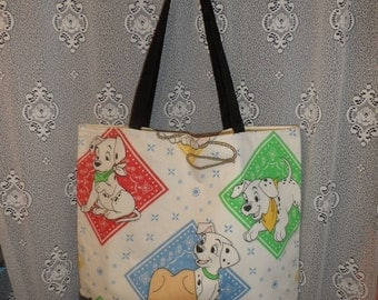 101 Dalmatians Book Tote Repurposed Denim Vintage Sheet Fabric Shopping Bag