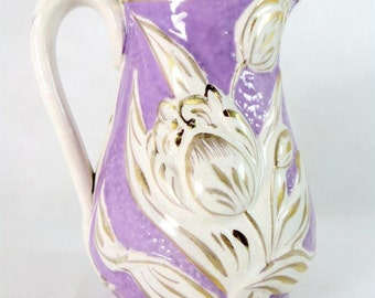 SALE! Antique Victorian Pitcher, 19thC Staffordshire Lilac Mauve Relief-Moulded Handpainted Tulips Water Jug