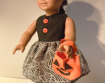Halloween 18 Inch Doll Clothes Black and Spider Web Dress
