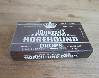 Vintage Advertising, Rare Vintage Johnsons Extra Strong Horehound Cough Drops, Unopened
