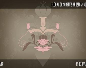 Floral Ornaments Photoshop brushes, Art Nouveau Digital Stamps, Floral Art Nouveau Clip Art