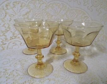 Amber Stemmed Glass Dessert Bowls