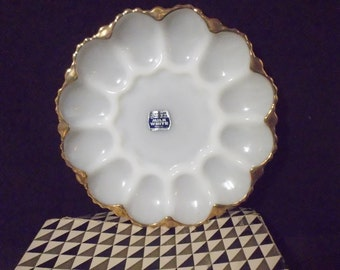 1950s Fire King Serving Dish with Original Box by Anchor Hocking