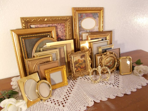 Large Vintage Gold Picture Frame Collection Set Gallery Paris Chic French Country Farmhouse Rustic Cottage Mid Century Home Decor Wedding