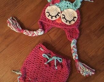 Crochet owl diaper set cover