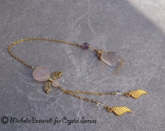 Angelic Rose Quartz Dowsing Pendulum (DP0333)