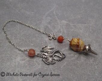 Dragon Gemstone Crystal Dowsing Pendulum (DP0032)