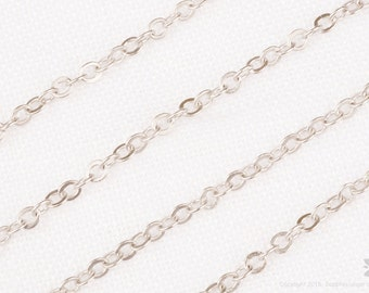 C110-MR// Matt Original Rhodium Plated Cable Chain, 1M