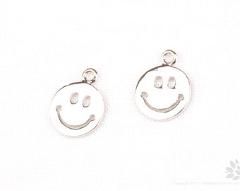 P794-R// Glossy Original Rhodium Plated Mini Smile Pendant, 2 pcs