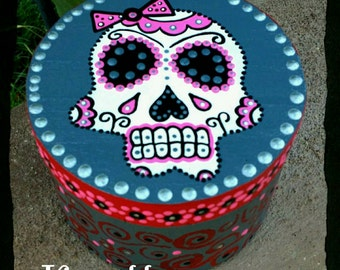Day Of The Dead Sugar Skull box hand painted