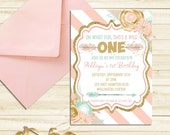 Wild ONE First Birthday Invitation, Printable Tribal Invitation, Pink and Gold 1st Birthday Invite