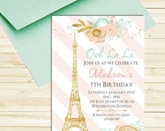 Paris Eiffel Tower Birthday Invitation Mint Pink and Gold Glitter Printable Invite