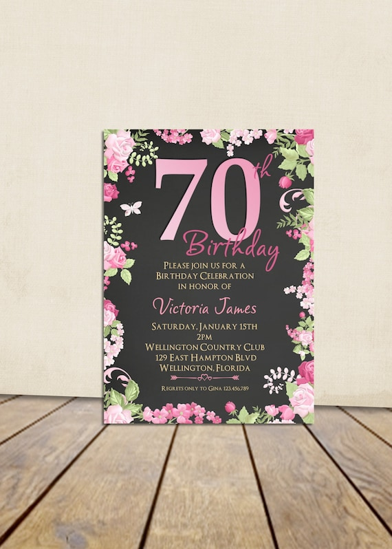 70th Birthday Invitation, Cottage Chic Pink Chalkboard Birthday Invitation, Any Age Adult Vintage Floral Rose Ohmbre Printable Invitation