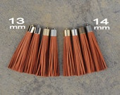 Terracotta Brown Nubuck (Leather) TASSEL  in 13 or 14mm Cap -4 colors Plated Cap- Pick cap size, cap color & trimmed size