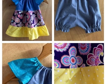 Paisley Peasant Dress and Bloomers, size 18 months