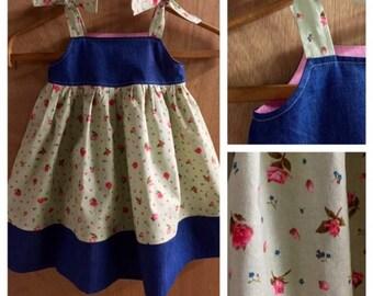 Boho Style Denim and Cotton Sundress, size 3t