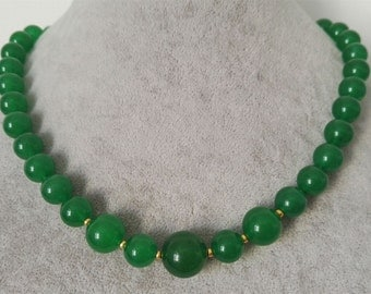 jade necklace - 10-14mm green jade necklace, free shipping