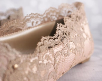 Wedding Shoes, Blush Wedding Shoes, Wedding Shoe Flats, Lace Wedding Shoes, Bling Wedding Shoes, Blush Wedding Ideas, Bridal Lace Shoes