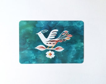 Folk bird blue postcard