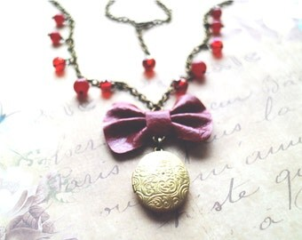 Locket pendant. red Leather bow necklace. Golden locket. Genuine leather bow pendant. Bridesmaids gift. Bohochic necklace