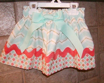Girls Skirt Custom..Light Teal Chevron N Coral..Available in 0-12 months, 1/2, 3/4, 5/6, 7/8, 9/10 Bigger Sizes Available